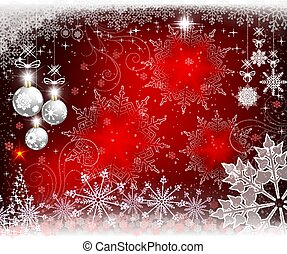 Christmas red background with white balls, snowflakes and a Christmas small tree