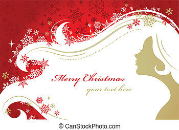 Christmas red background with woman silhouette