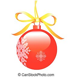 Christmas red ball isolated on a white