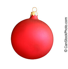 Christmas red ball isolated on white background with clipping path