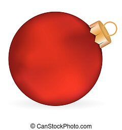 Christmas red  ball on a white background