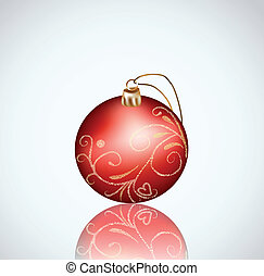 Christmas red ball on white background. Vector