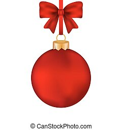Christmas red ball with bow on a tape