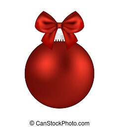 Christmas red ball with bow on a white