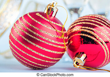 Christmas red ball with golden glitter