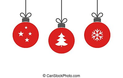 Christmas red balls hanging ornaments on white background.