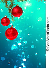 Christmas red balls with green fir tree on colorful blue bokeh b