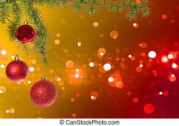 Christmas red balls with green fir tree on colorful bokeh backgr