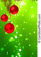 Christmas red balls with green fir tree on colorful green bokeh