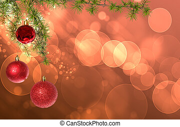 Christmas red balls with green fir tree on pink red bokeh...