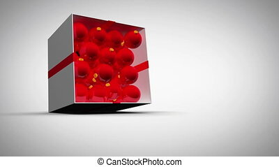 Christmas red balls with screens