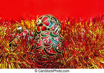 Christmas red balls with tinsel