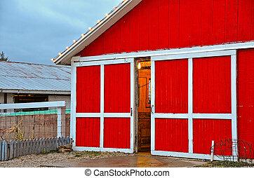 Christmas red barn