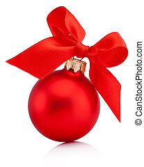 Christmas red bauble isolated with ribbon bow on white background