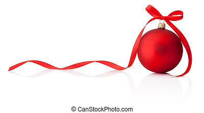 Christmas red bauble with ribbon bow isolated on white background