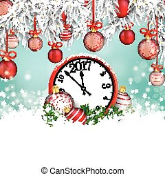 Christmas Red Baubles Frozen Twigs Snow Clock 2017 -...