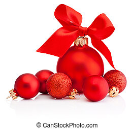 Christmas red baubles with ribbon bow isolated on a white background