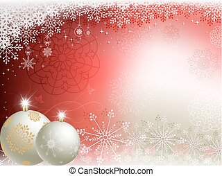 Christmas red, beige background with two white balls
