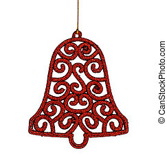 Christmas red bell & Accessories. isolated on white background.
