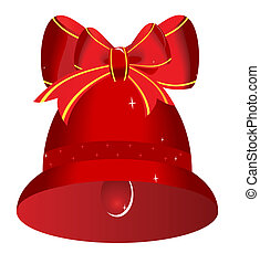 Christmas red bell with bow