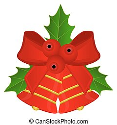 Christmas red bells with bow and holly