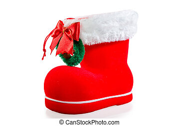 Christmas red boot on white background