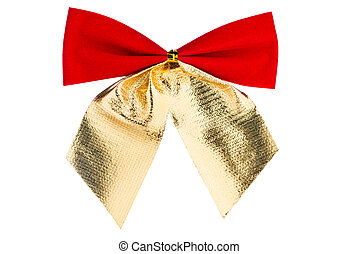 Christmas red bow with golden ribbon isolated on white background