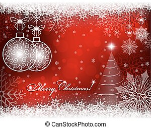 christmas red, bright background with snowflakes