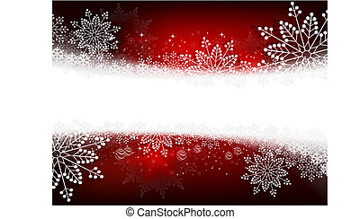 Christmas red bright composition with many gorgeous snowflakes,