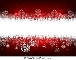 Christmas red bright composition with snowflakes and balls in retro style.
