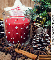 Christmas red candle and spice