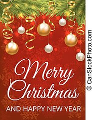 Christmas red card - Merry Christmas red background with...