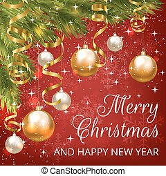 Christmas red card - Merry Christmas greeting card with red...