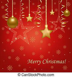 Christmas Red Card With Christmas Balls And Stars -...