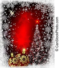 Christmas red card with shiny Christmas tree and burgundy balls.