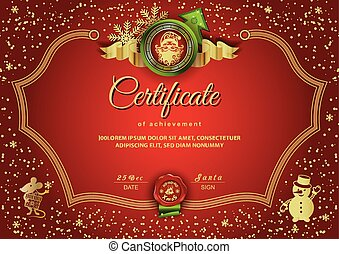 Christmas red certificate with Santa Claus and Rat, Snowman. Winter red gold background for New Year congratulations