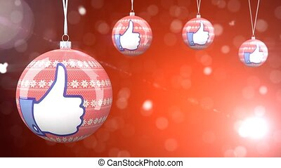 Christmas red color balls with like loop video