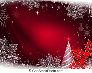Christmas red composition with a striped Christmas tree and beautiful white and red snowflakes