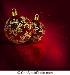 Christmas red composition with beautiful balls with golden snowflakes