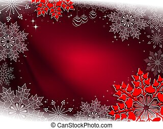 Christmas red composition with beautiful white and red snowflakes