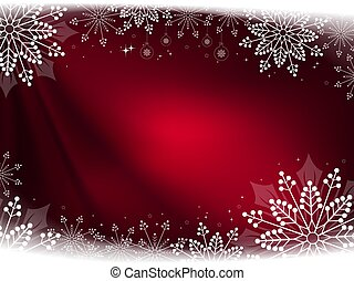 Christmas red composition with beautiful white snowflakes