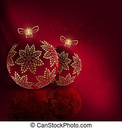 Christmas red composition with delicious balls with golden snowflakes