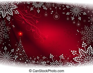 Christmas red composition with delicious white snowflakes