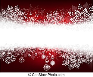 Christmas red composition with gentle snowflakes and balls,