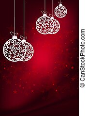 Christmas red composition with white balls on pendants with a retro style pattern
