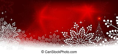 Christmas red composition with white snowflakes and abstract Christmas tree silhouette