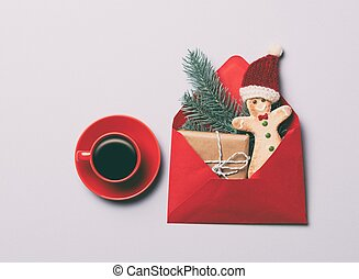 coffee and Gingerbread man cookie with gifts