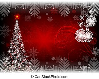 Christmas red dark background with Christmas tree and balls in retro style