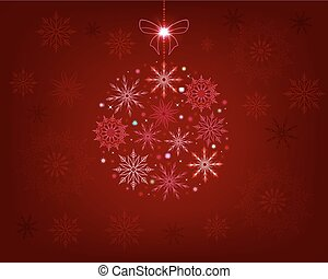 Christmas red dark design with snowflakes