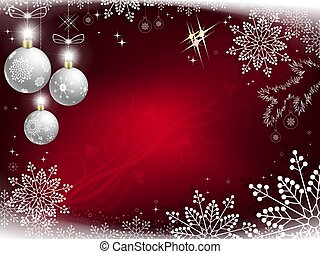 Christmas red design with a set of gorgeous snowflakes and white glitter balls